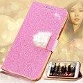 Kisscase glitter de cuero phone case para samsung galaxy s5 s6 edge plus s7 borde nota 4 5 muchacha de las mujeres del diamante de bling flip case cubierta
