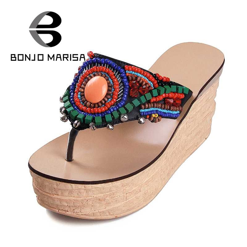 BONJOMARISA Behemia Beaded Women Sandals High Heel Wedges Platform Shoes For Summer Woman Black White Size 34-43 phyanic 2017 gladiator sandals gold silver shoes woman summer platform wedges glitters creepers casual women shoes phy3323
