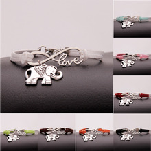 Antique Silver Love Elephant Charm Infinity Bracelets Multi Leather Cords Wrap Bangle Fashion Women Men Jewelry Christmas Gift gvusmil alabama red white multi strands infinity silver color charm leather bracelet bangle for women fashion jewelry