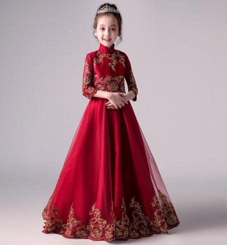 Fashion brand Handmade Red lace Girl Dress With applique Christmas Trailing dress Boutique Kids Clothing evening
