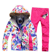 White Flower Thick Lady Women Ski Suit Sets Winter Snowboard Jacket+Pants Waterproof Breathable winter coats