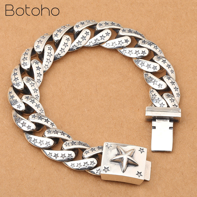 Real 925 Sterling Silver Lucky Star Bracelet For Men Women Width 15mm Vintage Punk Rock Link