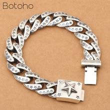 Настоящее 925 пробы серебро Lucky Star браслет для Для мужчин Для женщин Ширина 15 мм Винтаж панк-рок цепь & Браслеты тайский серебряные ювелирные изделия