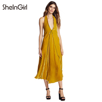 קטיפה צהובה SheInGirl 2018 נשים תחרה עד בחזרה אלגנטי עמוק צווארון V שרוולים שמלות מסיבת מועדון Vestidos ליידי ביגוד