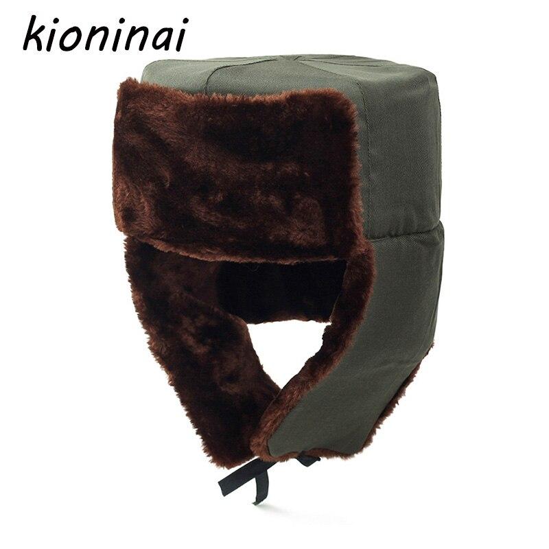Kioninai Nostalgic Style Bomber Hat Russian Army Trooper Aviator Winter Hat Ushanka Green Warm Cap Ear flaps Bomber lei feng Cap