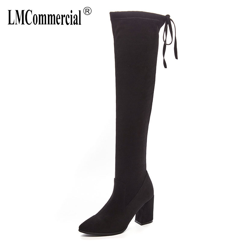 autumn winter fashion shoes leather pointed boots women's boots high heeled leather boots luxury designers thigh high boots