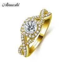 a66527ac0196 AINUOSHI 10 K sólido oro amarillo anillo mujer boda joyería de compromiso  0.63ct corte redondo SONA diamante nupcial banda tejer.
