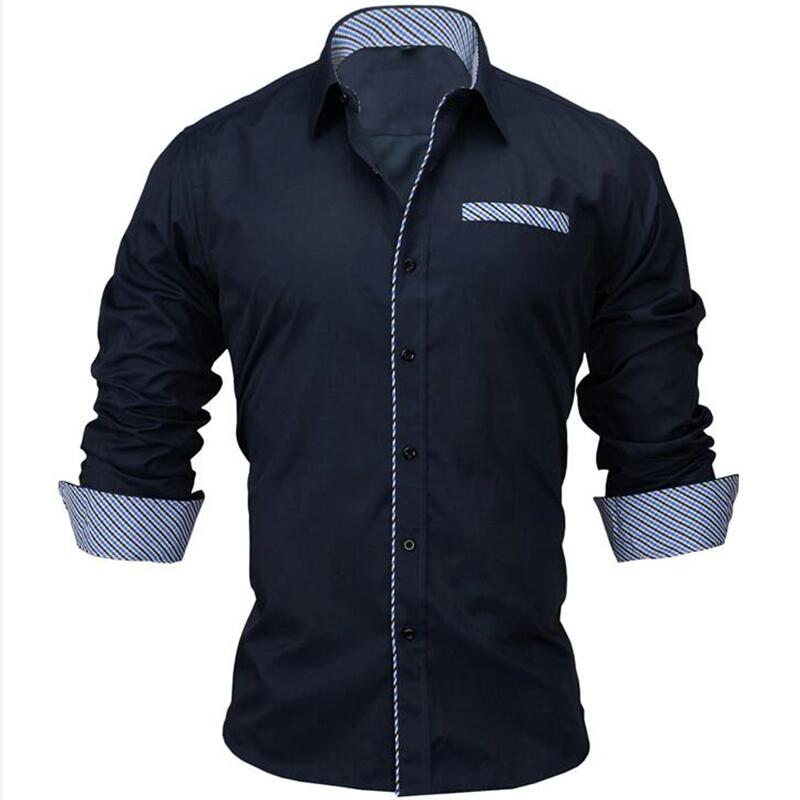 VISADA JAUNA 2019 Men's Shirt Male Clothing Fit 100% Cotton Solid Fashion Long Sleeve Shirt Men US 2XL Camisa Masculin N5021
