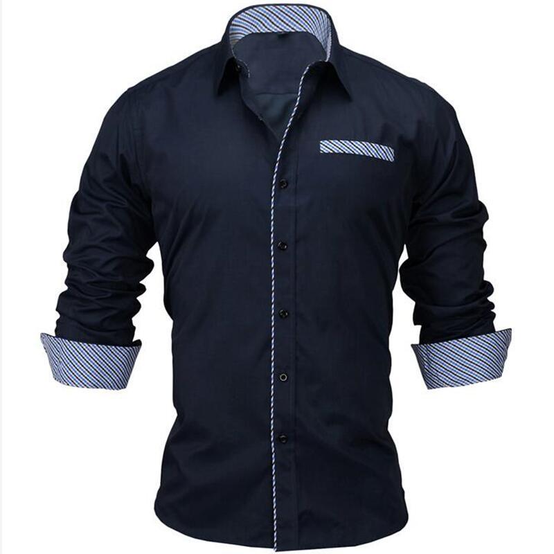 VISADA JAUNA 2019 Men's Shirt Male Clothing Fit 100% Cotton Solid Fashion Long Sleeve Shirt Men US 2XL Camisa Masculin N5021