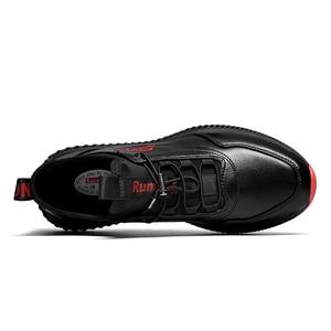 Image 4 - SUROM 通気性スニーカーレザーカジュアルシューズ男性軽量快適な屋外レースアップスポーツシューズ男性の非スリップ