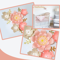 Handmade Pink Rose DIY Paper Flowers Gold Leaves Set For Nursery Wall Deco Boys Room Baby Shower Backdrop Video Tutorials