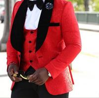Mens African Red Formal Business 4 Pieces Suit Groom Tuxedos Slim Fit Wedding Men Suit Single Breasted Blazer Prom Casual