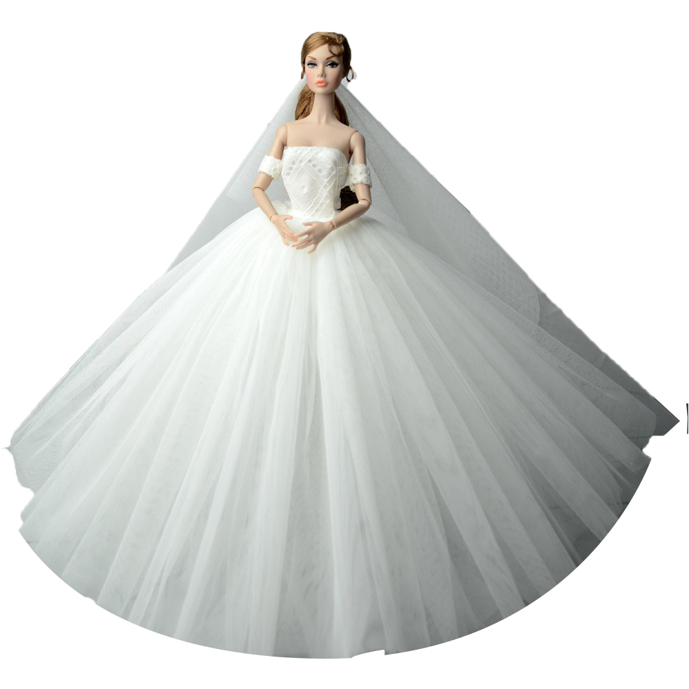 NK One Pcs Princess Doll New Handmake Wedding Dress+Veil Fashion Clothing Gown For Barbie Hot Dolls Accessories Best Gift