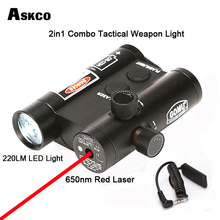 2in1 Combo Tactical 650nm Red Dot Laser Riflescope Sight Scope With 220LM Light Weapon Handgun For Pistol Hunting