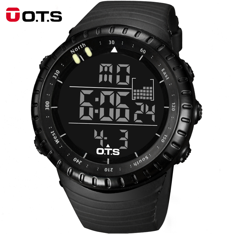 Topmerk OTS Cool Black Mens Fashion Large Face LED Digital Swimming Klimmen Outdoor Man Sports Watches Christmas Boys Gift