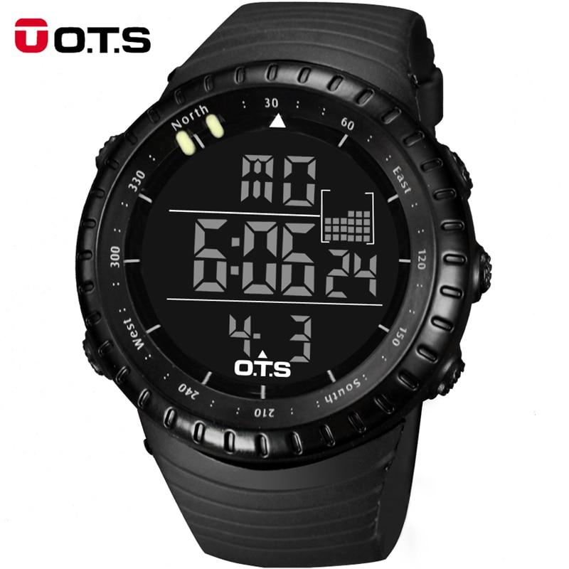 Top Brand OTS Cool Black font b Mens b font Fashion Large Face LED Digital Swimming