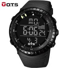 Marca de fábrica superior OTS frescas negro moda hombre grande de la cara del LED Digital natación escalada exterior hombre deportes relojes navidad los niños