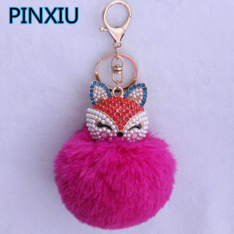 New Women Crystal fluffy Keychain Fox Pompom Key Ring llavero Pom Pom  Rabbit Fur Ball Key 92914dfe1