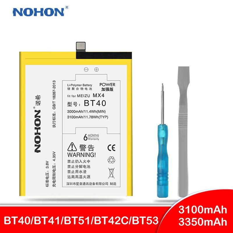 NOHON Para Meizu originais MX4 Pro MX5 MX6 Pro 6 M2 Bateria Nota BT40 BT41 BT51 BT42C BT53 M575M M575U verdadeiro Alta Capacidade Bateria