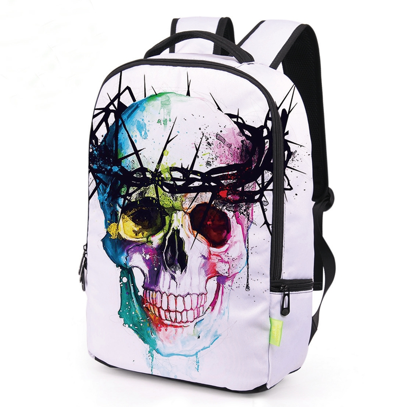 Dark Gothic Skull 3D Printing Cool MEN Backpack For Teenage Girls School Bags Punk Women Travel Bag School Backpacks Rucksack