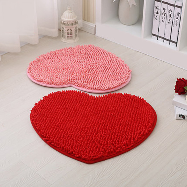 Fashion Heart Shaped Bath Mats Super Absorbent Non Slip Doormat Carpet Red Bathroom Rugs