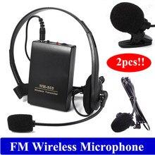 Envío libre! 2 unids Clip de Micrófono de Solapa Inalámbrico de Manos Libres FM Megáfono para Altavoz Maestro