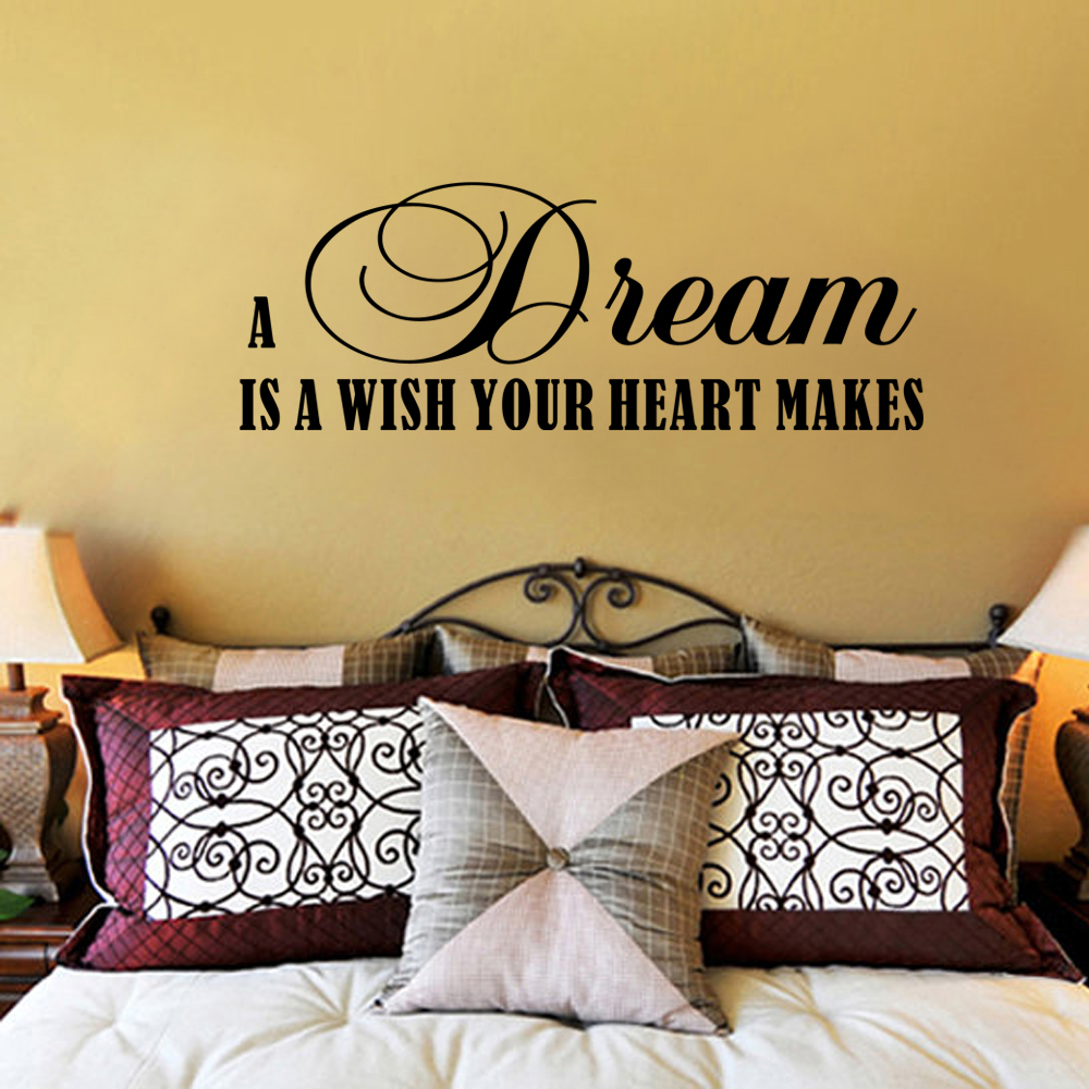 A Dream Is A Wish Your Heart Makes Bedroom Wall Art Quotes Vinyl ...