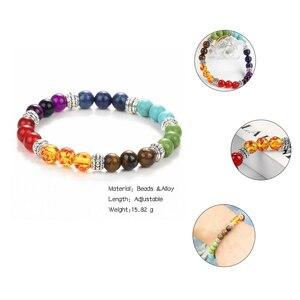 Image 5 - Se me moda 7 chakra pulseira masculino lava preta cura equilíbrio contas reiki buda oração pedra natural yoga pulseira mulher jóia