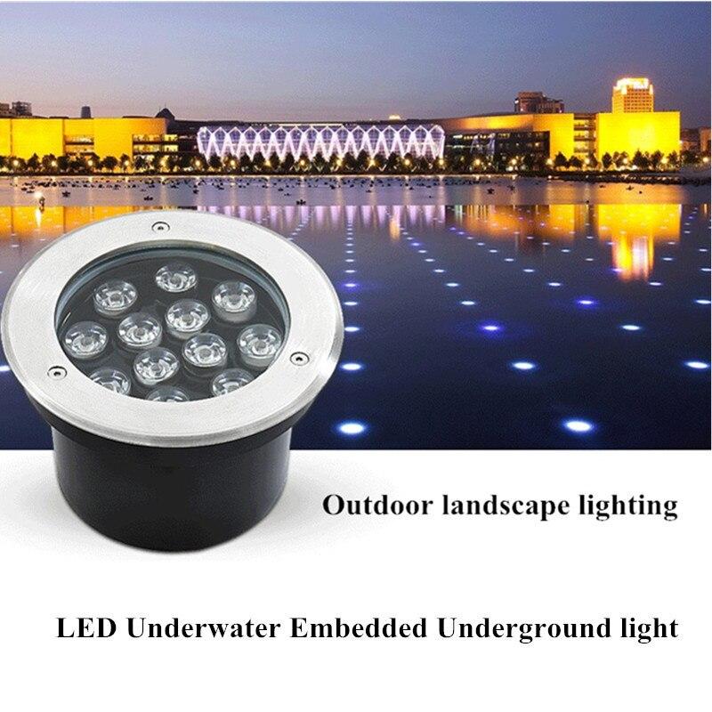 Lumière LED waterproof jardin souterrain 24 W 36 W IP68 extérieur enterré chemin de jardin Spot encastré éclairage souterrain DC12V 24 V RGB