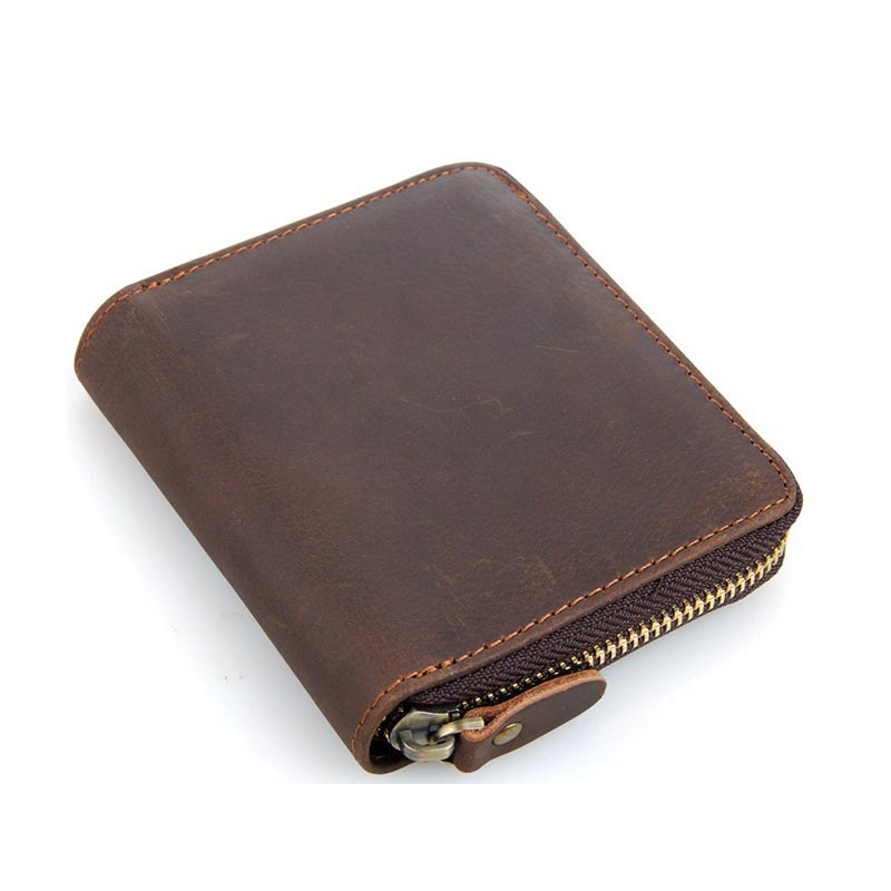 Men Wallet Crazy Horse Genuine Leather Purse Vintage High Quality Zipper Short Coin Holder Card Dollar Price 2017 Cash Wallets flying birds 2016 wallet leather purse dollar price men bags wallets card holder coin purses short wallet men s bag lm3421fb