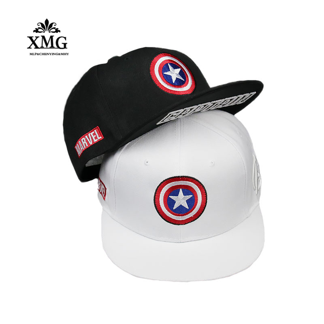 b248e4a7360 High Quality Cotton Marvel Superhero Captain America Baseball Cap Hip Hop  Sun Hats For man women Five pointed star Snapback Caps