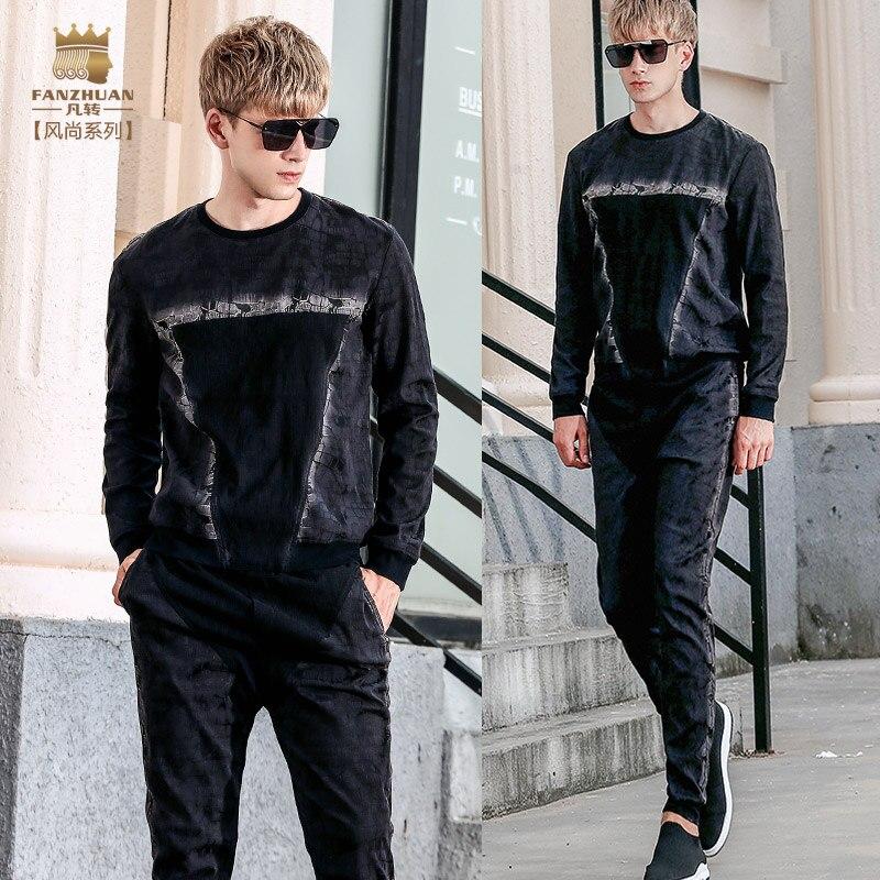 Fanzhuan livraison gratuite nouvelle décontracté 2017 hommes hommes automne à manches longues t-shirt pantalon 2 pièces ensemble 711093 noir