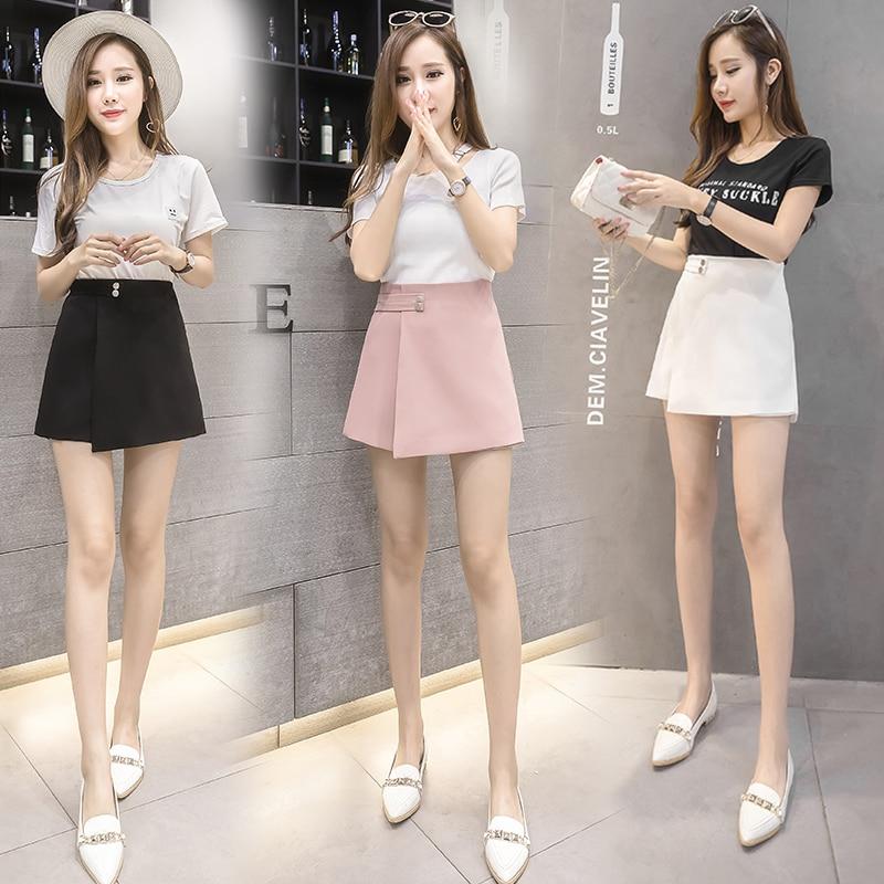 2020 New Women Shorts Skirts Spring Fashion High Waist Shorts Female Casual Loose Culottes Woman Black/Pink/White Summer Shorts 5