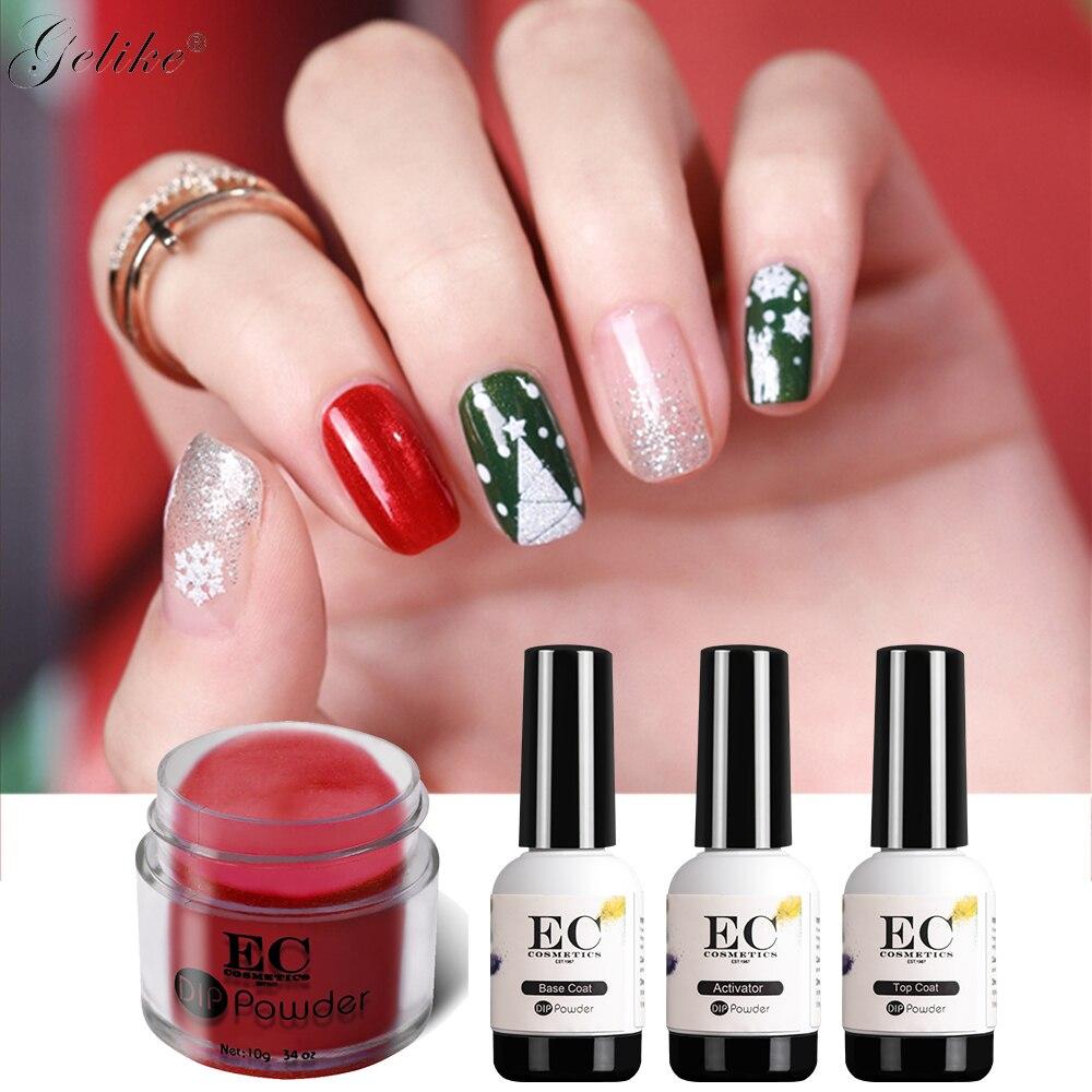 Gelike Рождественский подарок ногтей погружением порошок Starter Kit ногти красочные Dip Системы UV/светодио дный свет без запаха не желтеет