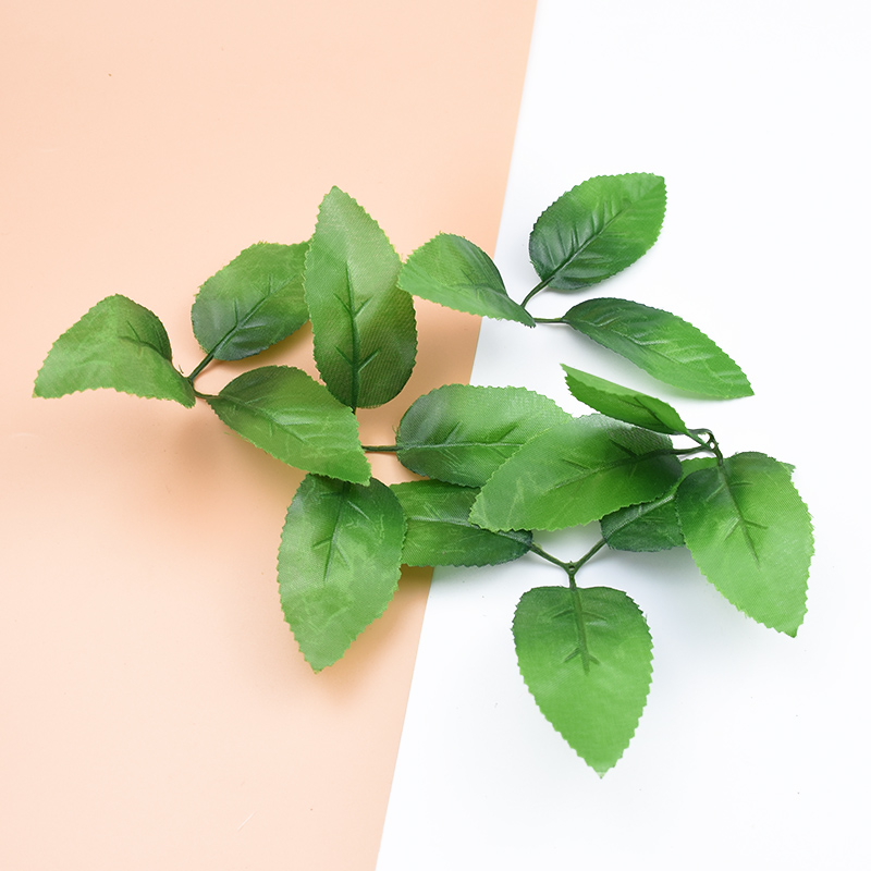 10pcs Fake Leaf Decorative Flowers Wall Wreaths Christmas Decor For Home Wedding Diy Gift Box Silk Rose Leaves Artificial Plants