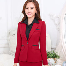 2016 Winter work wear women's suits set OL female formal long-sleeve blazer with trouser plus size business office ladies suit