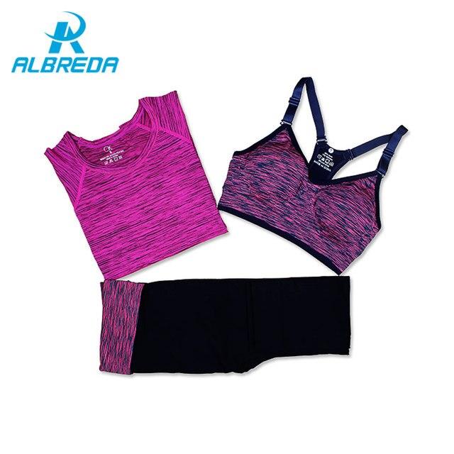 Albreda Для женщин Йога спортивный костюм Лето бюстгальтер набор 3 предмета женские с короткими рукавами Штаны Открытый быстрое высыхание Спортивная Бег одежда
