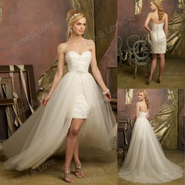 Vestido de novia corto con cola desmontable
