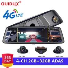 QUIDUX 2019 Автомобильный dvr камера ADAS 4 канала видео регистраторы зеркало 4 г 10 «Медиа зеркало заднего вида 8 Core Android регистраторы FHD 1080 P