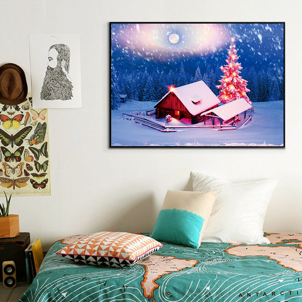 Christmas Small house Diamond Painting Full Round snow scenic New DIY Sticking Drill Cross Embroidery 5D simple Home Decoration in Diamond Painting Cross Stitch from Home Garden