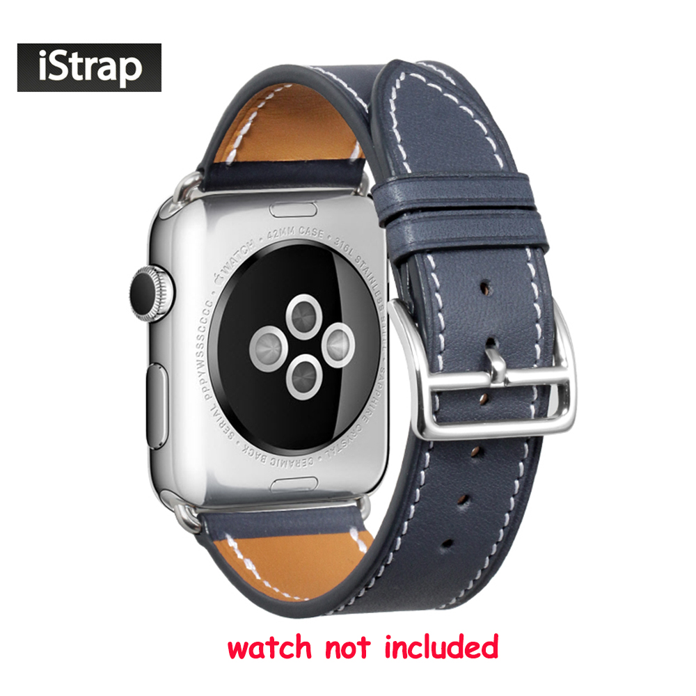 iStrap 38mm 42mm Blue High Quality Strap Leather Watch Band For iWatch Replacement Strap For Apple Watch Series 1 & 2 & 3 apple watch band 38mm 42mm secbolt metal replacement wristband sport strap for apple watch nike series 3 series 2 series 1