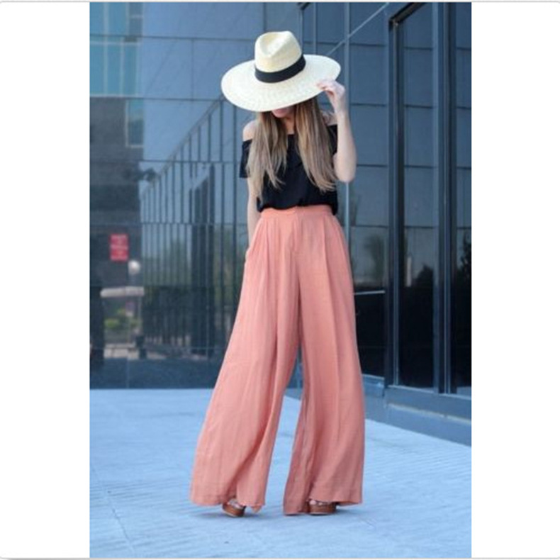 European style solid elastic waist   wide     leg     pants   woman fashion 2019 office lady full length elegant female   pants   holiday