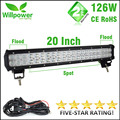 Waterproof IP67 tractor work bar 126W 20 inch 11000lms double rows offroad truck Led Light Bar work light 12v