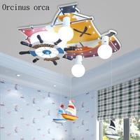 Мультяшная креативная лодка, светодиодный потолочный светильник для мальчиков, спальни, детская комната, лампа, средиземноморский пиратск