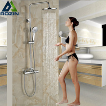 Chrome Thermostat Shower Faucet Anti-scald Bathroom 8