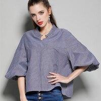 Summer Europe Fashion Blusas Stand Collar Women S Shirt Metal Ring Loose Lantern Sleeve Blouses Blue