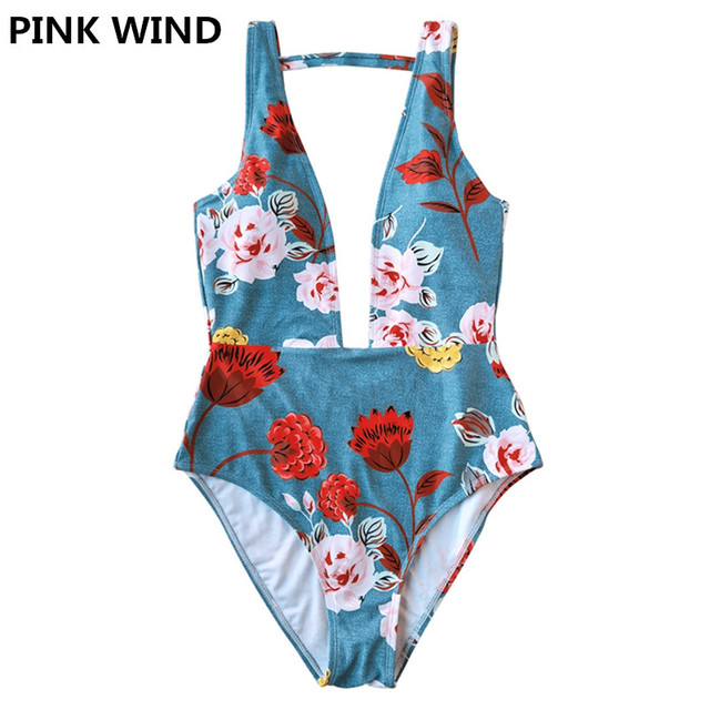 f6e48a7b39 PINK WIND 2018 Brand New Women s Blue Floral Deep Plunge One Piece  Swimsuits Swimwear Deep V Backless Monokini Bathing Suit