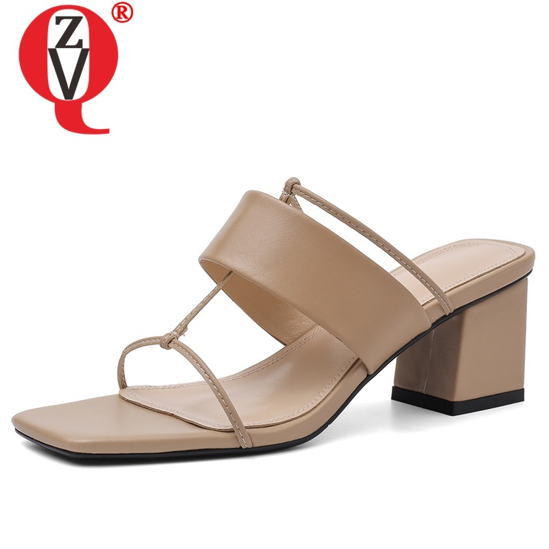 ZVQ woman shoes 2019 summer new fashion sexy open toe handmade genuine leather woman slippers outside high heels ladies slidesZVQ woman shoes 2019 summer new fashion sexy open toe handmade genuine leather woman slippers outside high heels ladies slides