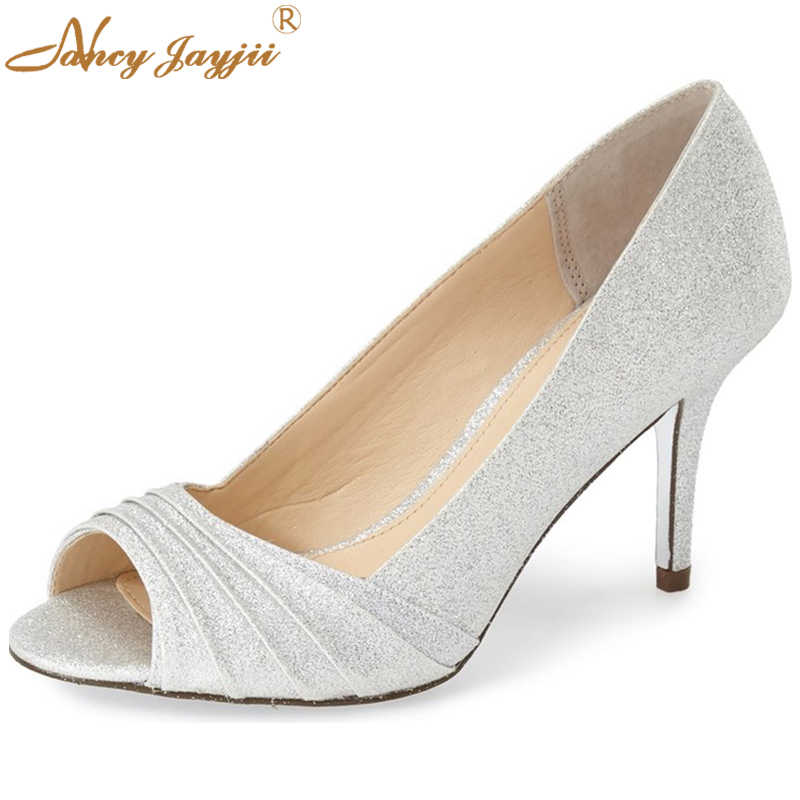 Detail Feedback Questions about Summer Silver Glitter Satin Pumps ... 2f88ac9c9c41