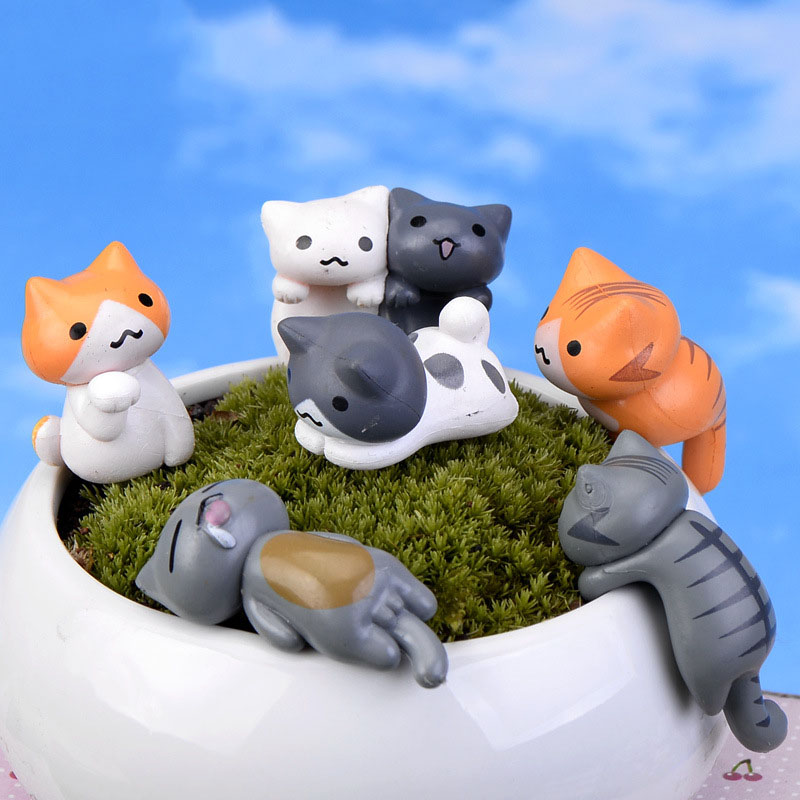 6 Pcs/set Cute Lucky Cat DIY Micro Landscape Aquarium Miniature Figurines Beauty Cake Keys Plastic Decoration Crafts Home Decor